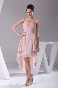 Lovely Ruched Sweetheart Pink High-low Ronda Spain Cocktail Dresses
