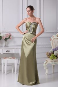 Olive Green Sweetheart Ruche Beading Cocktail Dress Hot in Onda Spain