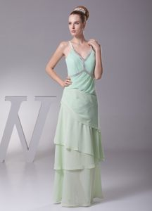 V-neck Beading Layers Apple Green Chiffon Cocktail Dress For Celebrity