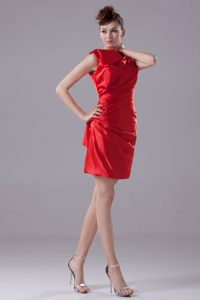 High Neck Ruching Red Taffeta Short Formal Cocktail Dresses for 2013