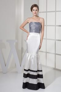 Strips Strapless Black and White Floor-length Mermaid Dress for Cocktail