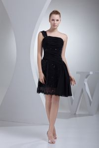 Sequin One Shoulder Ruched Black Mini-length Evening Cocktail Dress