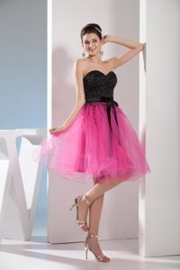 Backless Sweetheart Beading Sash Fuchsia and Black Cocktail Dress