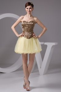 Leopard Fabric Sweetheart Beading Light Yellow Dresses for Cocktail