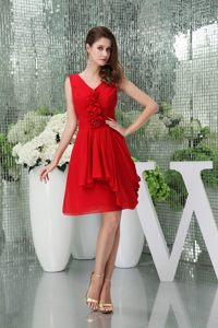 Knee-length V-neck Chiffon Red Cocktails Dresses Christchurch with Flower