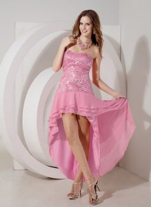 Discount Rose Pink High-low Cocktails Dresses in Invercargill Sequin Accent