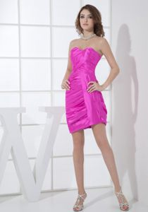 Hot Pink Sweetheart Mini-length Column Ruched Cocktail Dress in Bedfordview