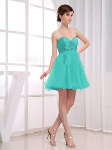 Aqua Blue Short Beading and Ruching Accent Prom Cocktail Dress in Bethlehem