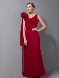 Column V-neck Flower Wine Red Cocktail Dress for Celebrity in Boksburg