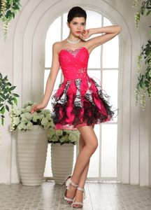 Beaded Sweetheart Hot Pink and Black Evening Cocktail Dress in Deneysville