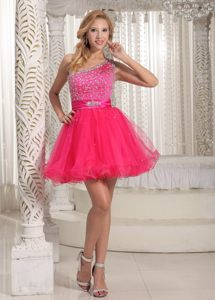 One Shoulder Beading Decorate Hot Pink Cocktail Party Dresses in Dullstroom