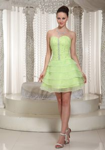 Yellow Green Beaded Sweetheart Homecoming Cocktail Dresses in East London