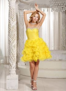 Ruffles Sweetheart Yellow with Beading Cocktail Reception Dresses in Edenvale