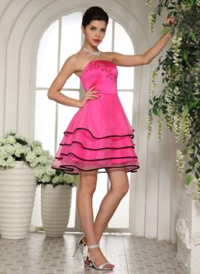 Hot Pink and Black with Appliques and Beading Cocktail Dress in Elandsfontein