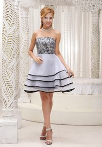 Fashionable Grey with Mini-length A-line Tiered Zebra Cocktail Dress in Ellisras