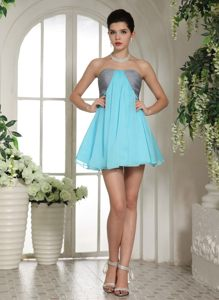 Aqua Blue and Grey Mini-length Club A-line Evening Cocktail Dress in Estcourt