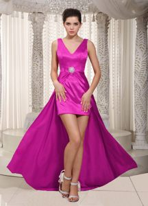 Fuchsia Column V-neck High-low Beaded Cocktail Dress for Prom in Franschhoek