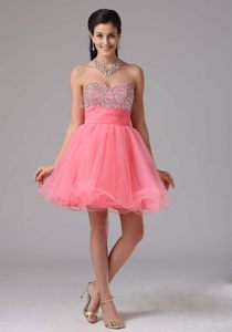 Cute Watermelon Beaded with Sweetheart Prom Cocktail Dress in Grahamstown