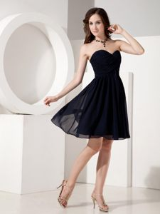 Black Sweetheart Ruched Mini-length Evening Cocktail Dress in Henley on Klip