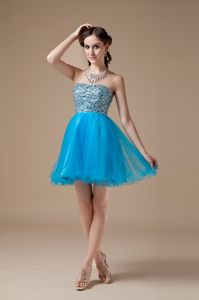Low price Teal A-line Beading Mini-length Prom Cocktail Dress in Hillcrest