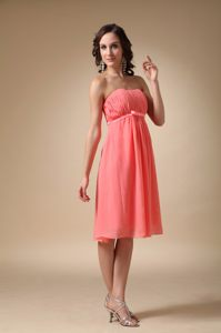 Watermelon Red Empire Knee-length Ruched Cocktail Dress for Prom in Himeville