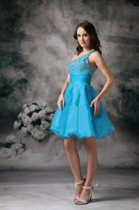 Aqua Blue One Shoulder Beaded Homecoming Cocktail Dresses in Hluhluwe