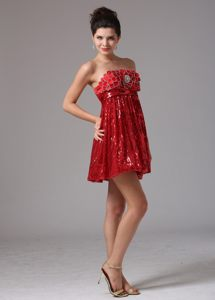 Custom Made Wine Red Empire Sequined Mini-length Cocktail Dress in Isando