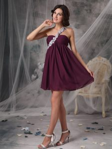 Dark Purple Short One Shoulder Appliques Evening Cocktail Dress in Jeffreys Bay