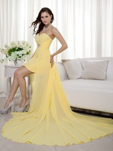 Yellow Column High-low Style Beaded Cocktail Dress for Prom in Kempton Park