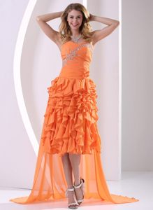 Orange Beaded and Ruffled Layers Detachable High-low Cocktail Dress in Knysna