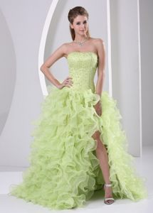 High Slit Beaded and Ruffled Yellow Green Brush Cocktails Dresses in Kroonstad