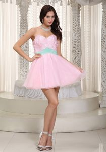 Baby Pink Sweetheart Mini-length Appliques Cocktail Reception Dresses in Malgas