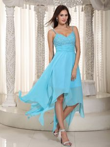 Ruched Baby Blue Empire Straps Asymmetrical Chiffon Cocktail Dress in Mandeni