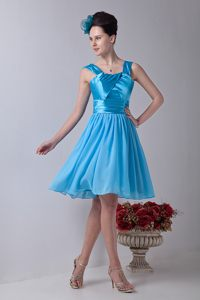 Straps Knee-length Aqua Blue Ruched Cocktail Reception Dresses in Montagu