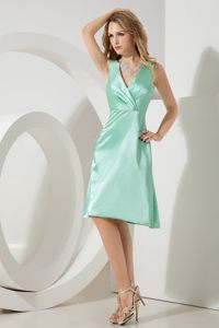 Apple Green A-line Knee-length Cocktail Dress in Pietermaritzburg V-neck Design