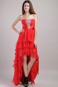 Sweetheart High-low Red Empire Organza Beading Cocktail Dress in Randburg