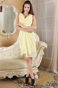 Light Yellow Column V-neck Ruched Mini-length Cocktails Dresses in Randfontein