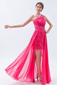 Sheath One Shoulder High-low Sequins Hot Pink Cocktail Dress in Roodepoort