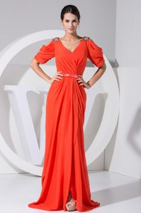 Jeweled Open Sleeves for Coral Red Cocktails Dresses in Stilbaai with Slit Design