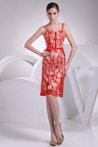 Red Lace Covered Cocktail Dress for Celebrity in Umhlanga Rocks with Straps