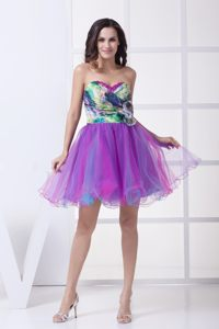Ruching and Flower Accent Cocktail Party Dresses in Verulam with Colorful Print