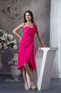 Fuchsia One Shoulder with Flowers Homecoming Cocktail Dresses in Wadeville