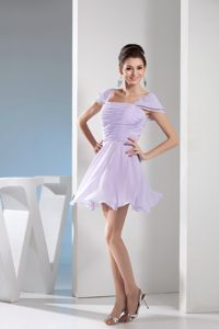 Square Mini-length with Ruching and Cap Sleeves Lilac Cocktail Dress in Witbank