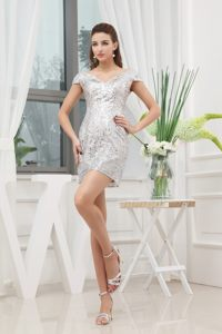 Sequin Mini-length V-neck Prom Cocktail Dress in East London with Cap Sleeves