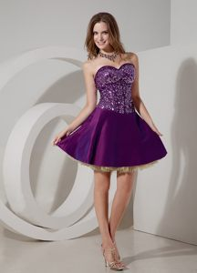 Purple Sweetheart Sequin Mini-length Homecoming Cocktail Dresses in Edenvale