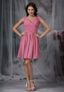 Roes Pink Empire V-neck Mini-length Ruched Prom Cocktail Dress in Gansbaai