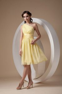 Light Yellow Column One Shoulder Ruched Cocktail Dress for Prom in George