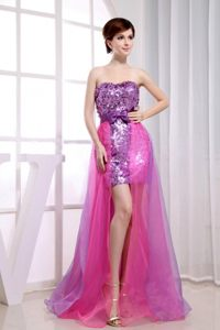 Paillette Over Beading Stylish Column Fuchsia Prom Cocktail Dress in Hluhluwe