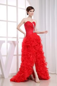 Beading Mermaid Sweetheart Cocktail Dress Ruffled High-low in Red