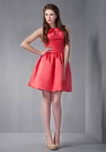 Mini-length Scoop Coral Red Homecoming Cocktail Dresses at Darnall